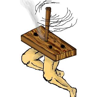 アウトドアなら摩擦発火法(錐揉み式)