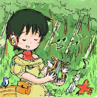 羽音さんの弾く竪琴の音色に耳を傾ける小鳥たち