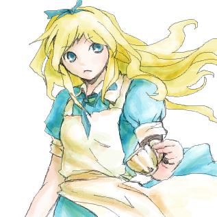 ティーカップを持つアリス