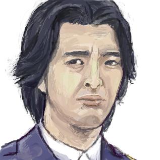 渋い顔をしている海東純一の似顔絵