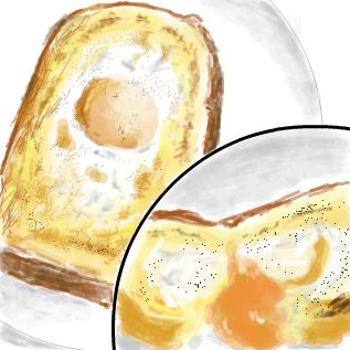 パンを割ると黄身がトロリ