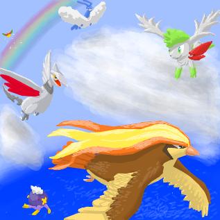 空を飛んでるエアームドやホウオウなど