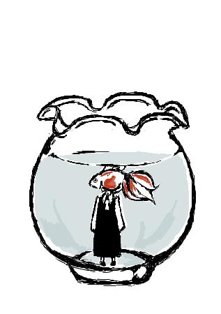 霊夢in金魚鉢