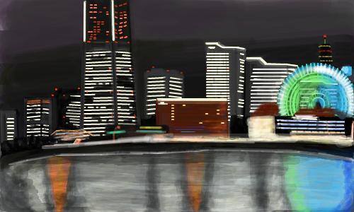 県庁所在地・横浜のみなとみらいの夜景。