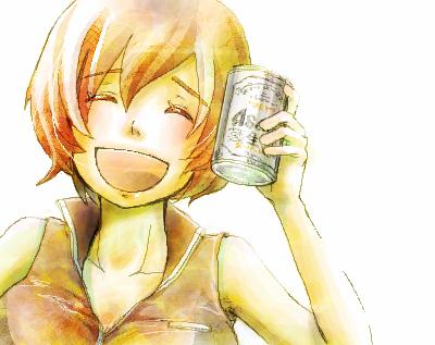 Vocaloid Meiko「くはーっ!この一杯がやめられないのよねっ!」笑顔の一本スーパードライ缶