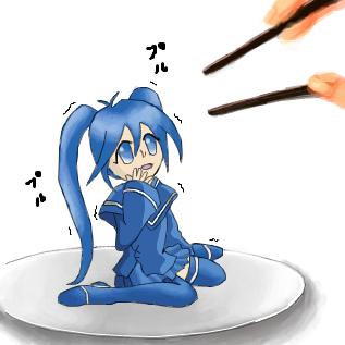 解答例:箸を足す。右のキャラクター by ポー