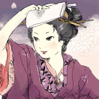 春爛漫桜と着物姿女性