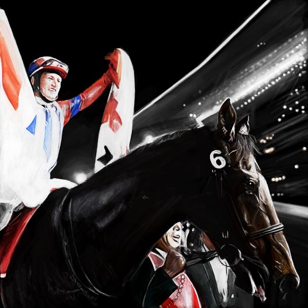 ドバイワールドカップ勝利後、日本の国旗を掲げるミルコ・デムーロ騎手