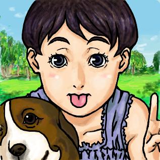 女の子&犬