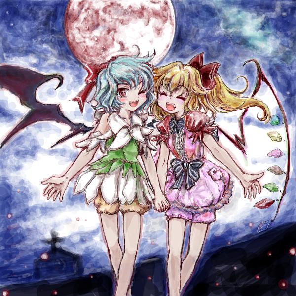 紅い月夜にお散歩姉妹