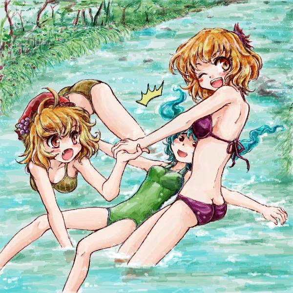 川遊びに来た秋姉妹と流れてきた河童