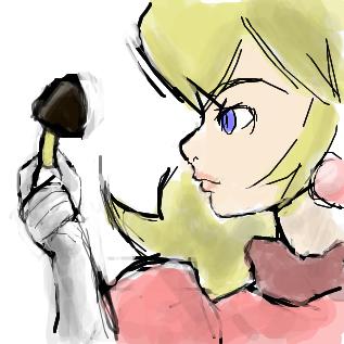 キノコを見つめるピーチ姫