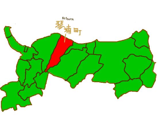 鳥取県における琴浦町の位置