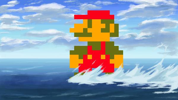 水上にマリオ