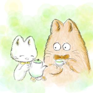 猫キャラクター小さなお茶会