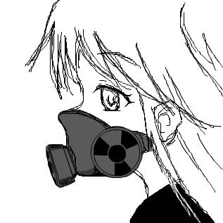 ガスマスクあみゆ らくがき