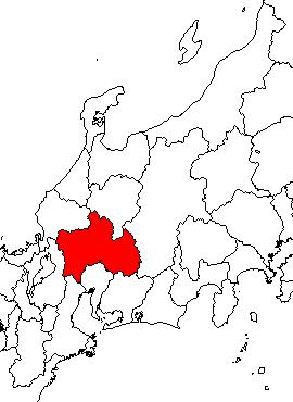 美濃国の位置を赤で示した地図