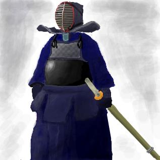竹刀を持ち、防具(剣道具)を身に着けた剣士。