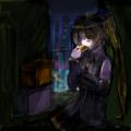 暗闇にて、携帯のサブディスプレイの蛍光で浮かび上がる亞北ネルの顔 nonkoさん画