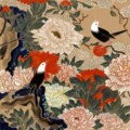 牡丹小禽図